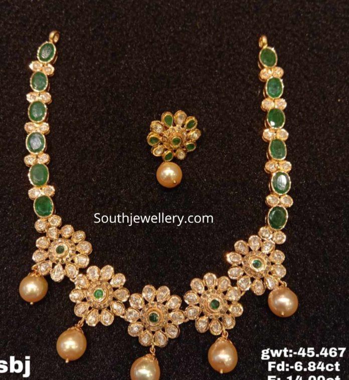 polki emerald floral necklace