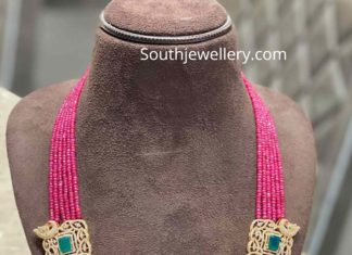 ruby beads long necklace with side pendants