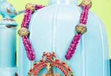 ruby beads necklace with kundan pendant