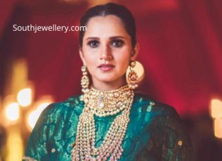 sania mirza in polki jewellery at her sister anam mirza wedding (1)