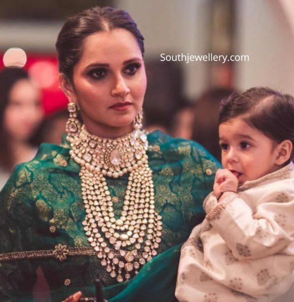 sania mirza in polki jewellery at her sister anam mirza wedding