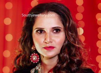 sania mirza kundan polki jewellery at her sister pre wedding (4)