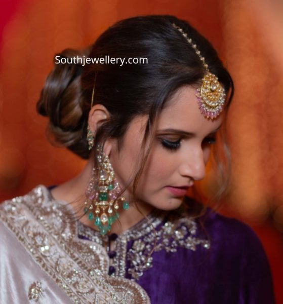 sania mirza kundan polki jewellery at her sister pre wedding