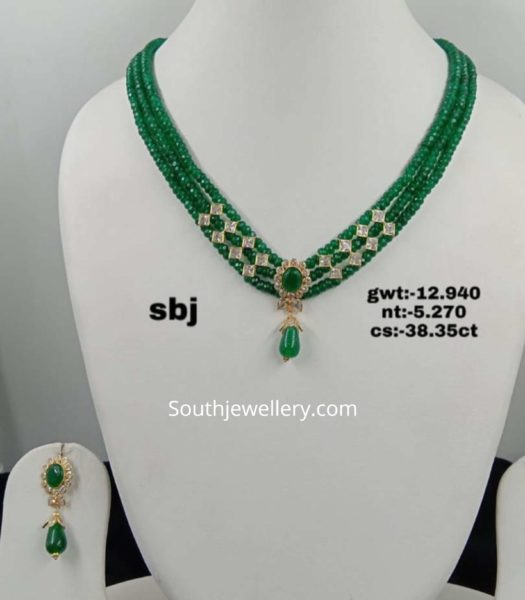emerald beads necklace