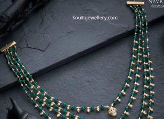 simple diamond emerald step necklace