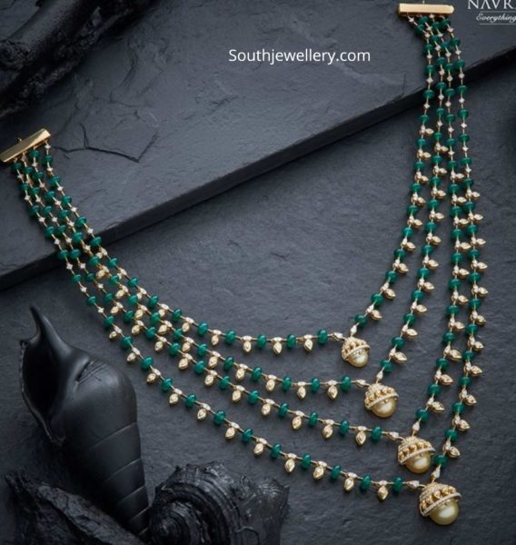 simple diamond emerald step necklace