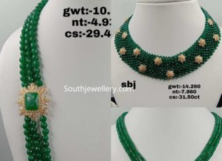 indian emerald beads necklace designs