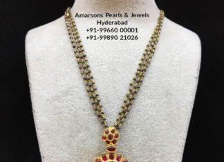nallapusalu chain with kundan pendant
