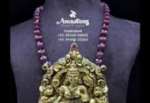 ruby beads chain with temple pendant