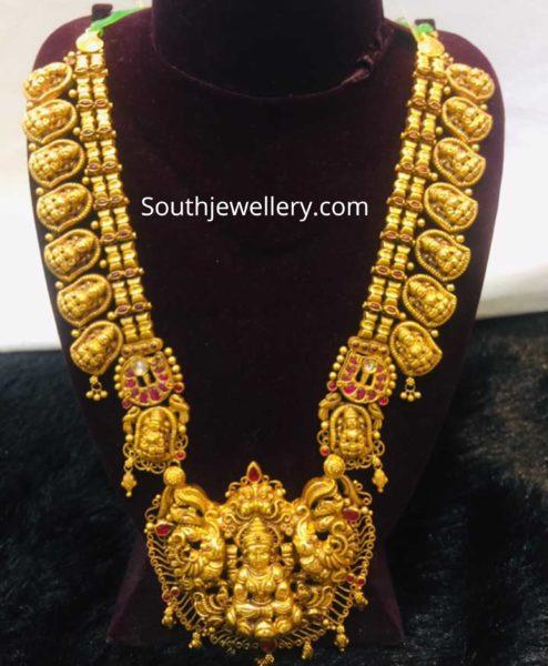 antique gold lakshmi haram