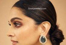 deepika padukone in big emerald polki earrings