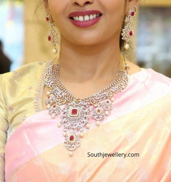 diamond ruby necklace set by manepally