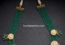 emerald beads and polki necklace