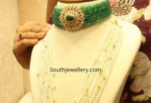 emerald beads choker and pearl haram with lakshmi pendant (1)
