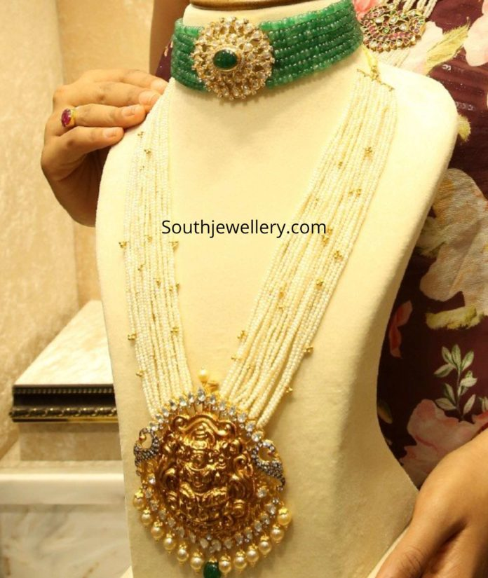 emerald beads choker and pearl haram with lakshmi pendant (1)