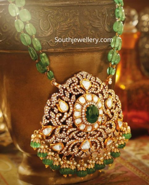 emerald beads necklace with diamond pendant by jagdish jewellers