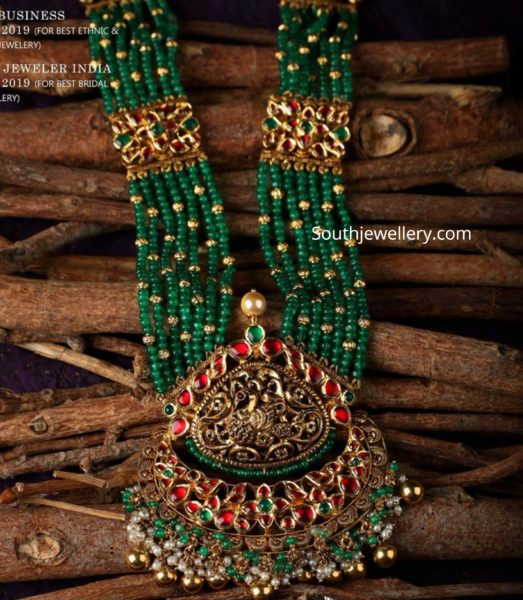 emerald beads necklace with kundan pendant