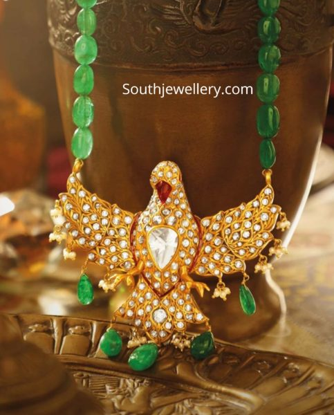 emerald beads necklace with pegion pendant by jagdish jewellers