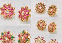 floral kundan stud designs 22 carat gold