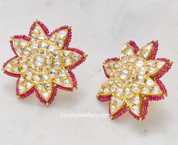 floral kundan stud designs (5)