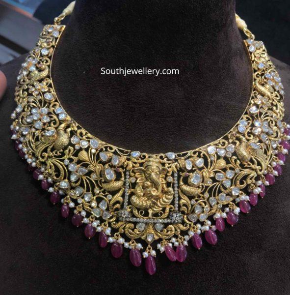 ganesh peacock necklace