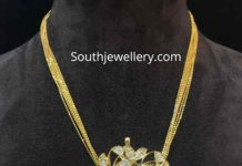 gold chain with polki pendant