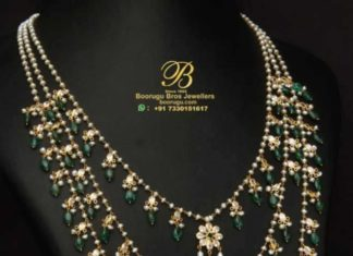 layered pearl and uncut diamond necklace