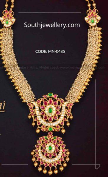 pearl haram with two step kundan pendant