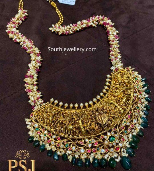 pearl necklace with radha krishna pendant