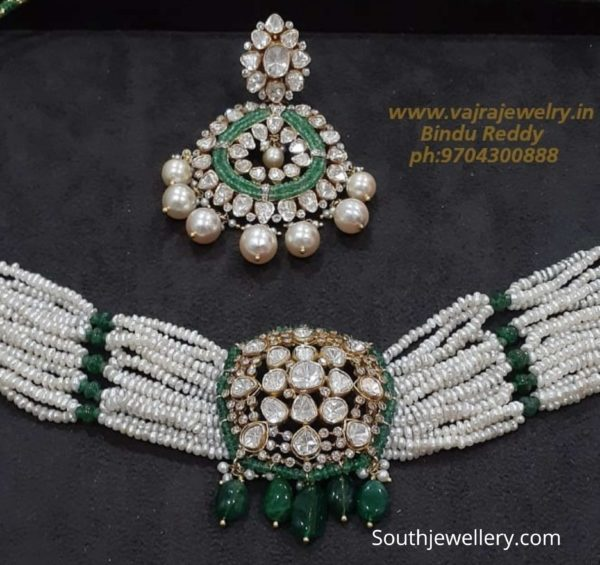 pearls and emerald beads choker with polki pendant