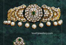 polki diamond choker and earrings (1)