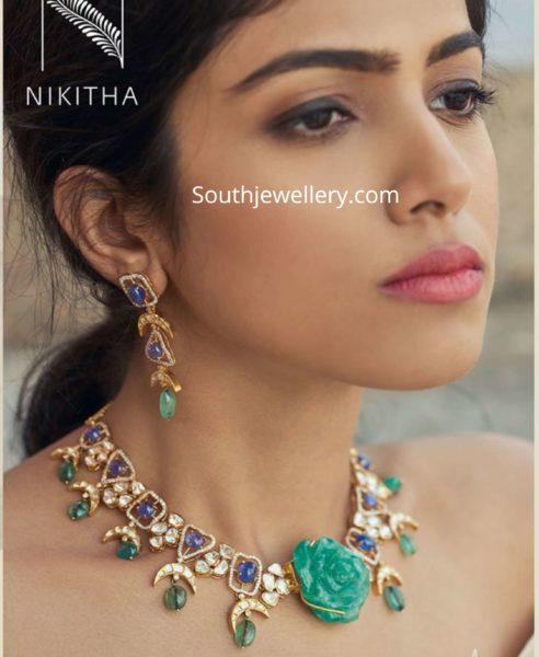 polki diamond necklace with rose pendant