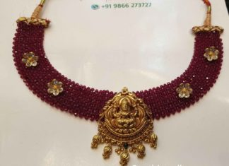 red beads necklace with lakshmi pendant