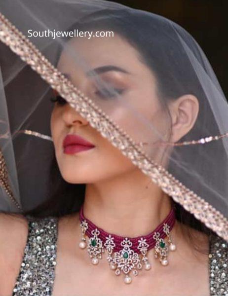 ruby diamond choker and long necklace by mangatrai pearls (1)