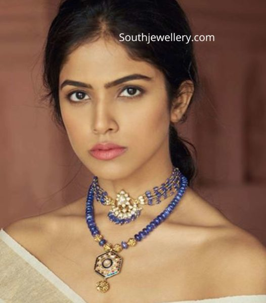 sapphire beads choker and necklace