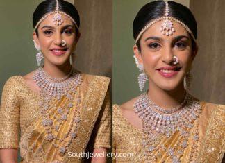 telugu bride in diamond jewellery