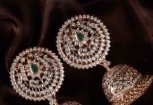 traditional diamond jhumkas