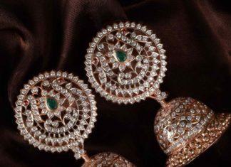 traditional diamond jhumkas