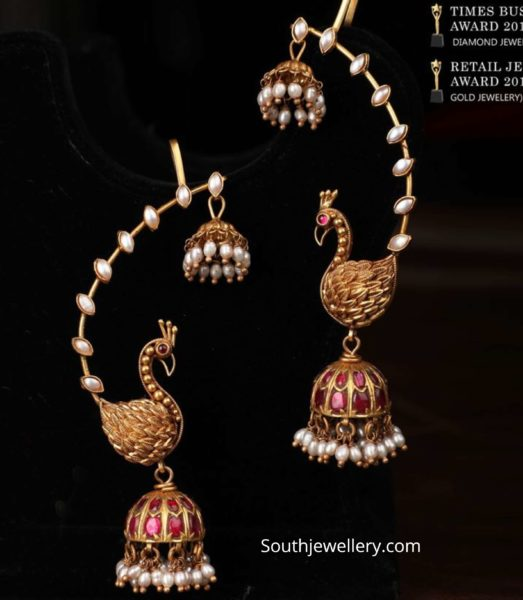traditional peacock jhumkas with cuffs