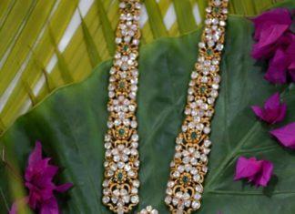 uncut diamond haram with ram parivar pendant