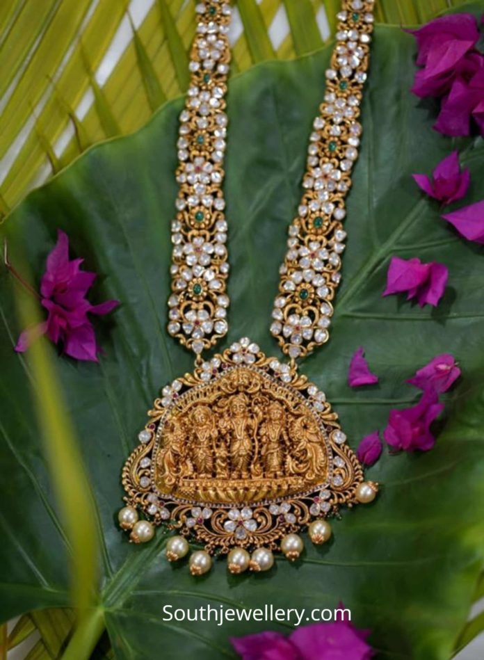 uncut diamond haram with ram parivar pendant