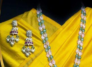 beads long necklace with polki pendant by mangatrai neeraj