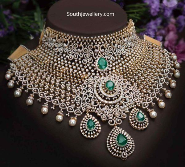 bridal diamond emerald choker