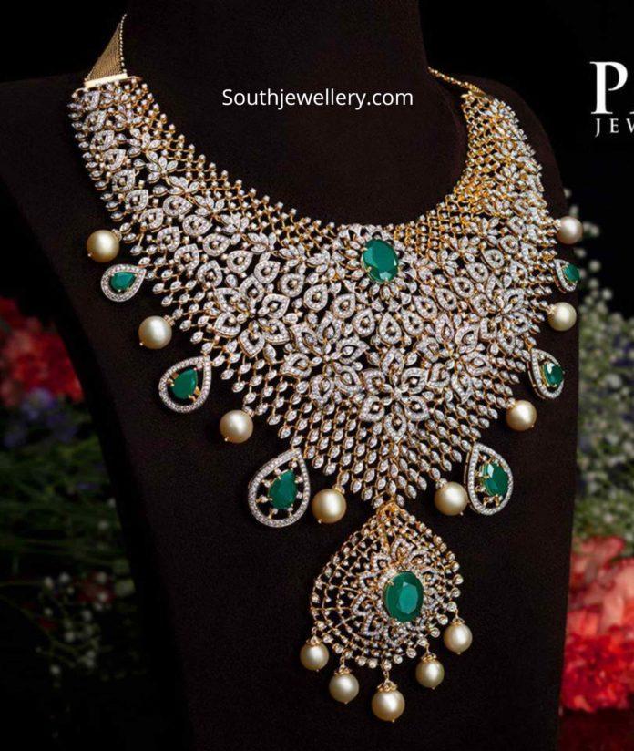 diamond emerald choker for brides pmj