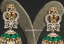 diamond emerald peacock jhumkas