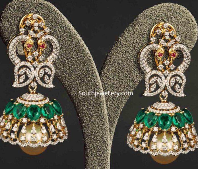 diamond emerald peacock jhumkas