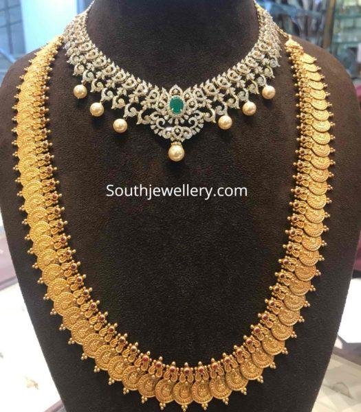 diamond necklace and lakshmi kasu haram