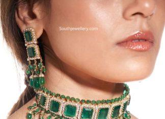 emerald and rose cut diamond choker