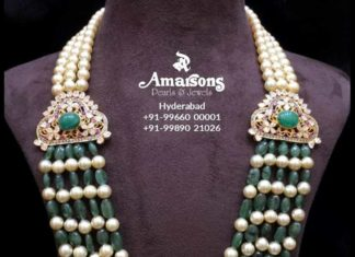 emerald beads and south sea pearl mala