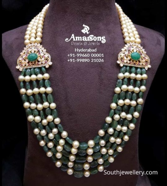 emerald beads and south sea pearl mala